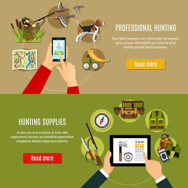 Hunting shop banners set Free Vector