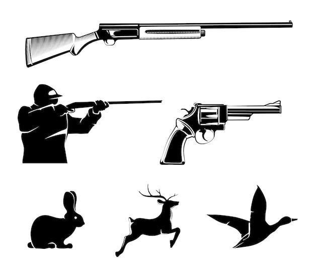 빈티지 라벨 및 엠블럼에 대한 사냥 벡터 요소. 사슴과 총, 사냥 스포츠, 권총 또는 리볼버, 야생 동물 및 소총 그림 무료 벡터
