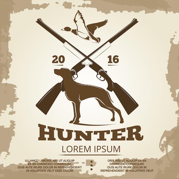 Hunting vintage poster design Premium Vector