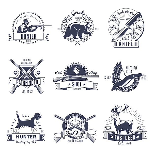 Hunting vintage style label Free Vector