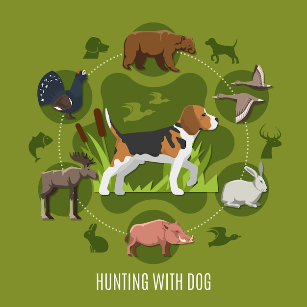 Hunting with dog concept Free Vector