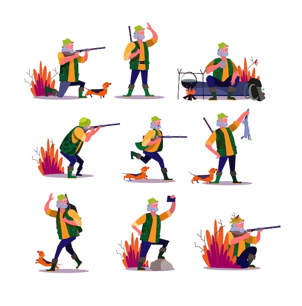 Hunting with dog set Free Vector