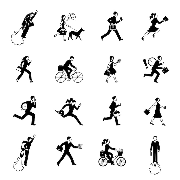 Hurrying business people monochrome set Free Vector