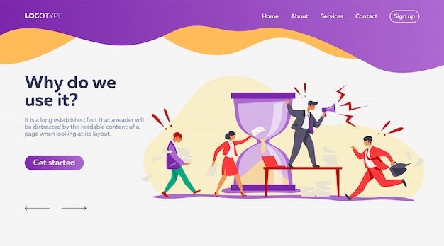 Hurrying workers landing page template Free Vector