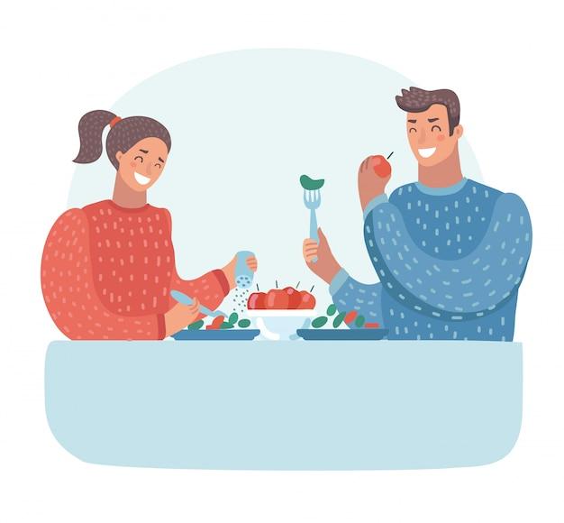Муж и жена обедают. семейный ужин. вегетарианство Premium векторы