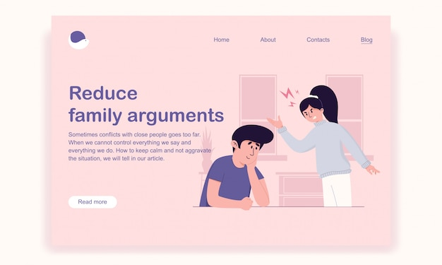 Husband carefully and lovingly listens to his irritated wife for solving the problem landing page template Premium Vector