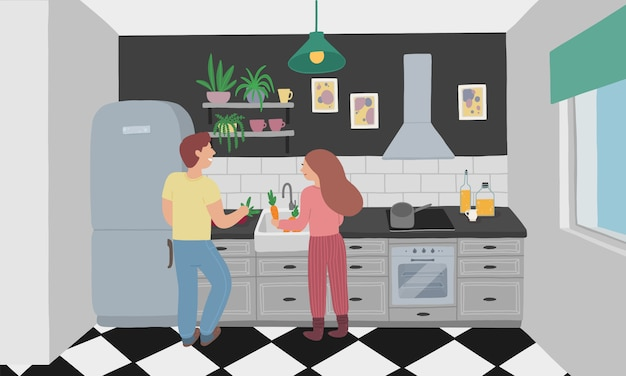 Husband and wife cook together Premium Vector