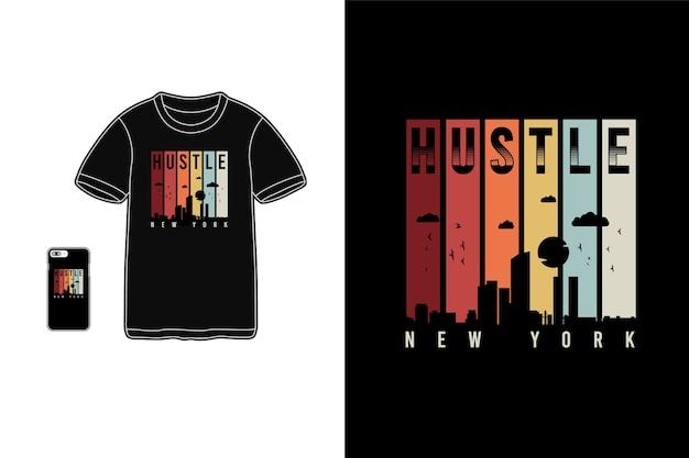 Hustle new york,t-shirt merchandise siluet mockup typography Premium Vector