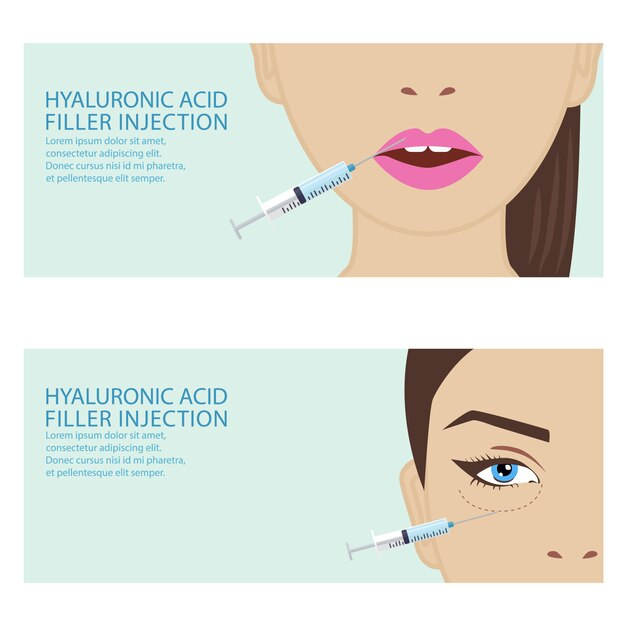 Hyaluronic acid facial injection Vector | Premium Download