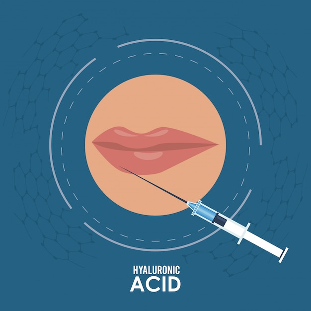 Hyaluronic acid filler injection infographic flyer Premium Vector