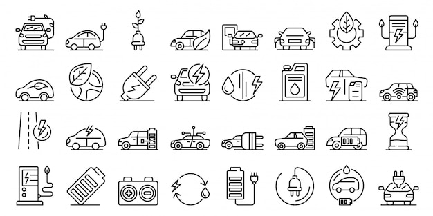 Hybrid icons set, outline style Premium Vector