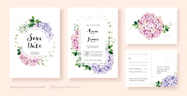 Hydrangea flowers wedding invitation Premium Vector