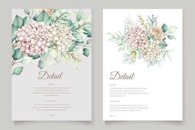 Modello di carta di invito matrimonio acquerello ortensia Vettore gratuito