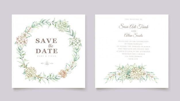 アジサイ水彩結婚式の招待カードテンプレート 無料ベクター