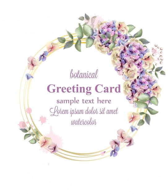 Hydrangeas watercolor floral wreath Premium Vector