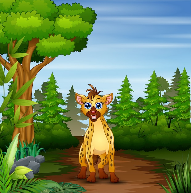A Hyena Looking For Prey At Forest Scene Premium Vector