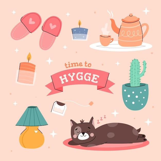 Hygge stickers pack Premium Vector