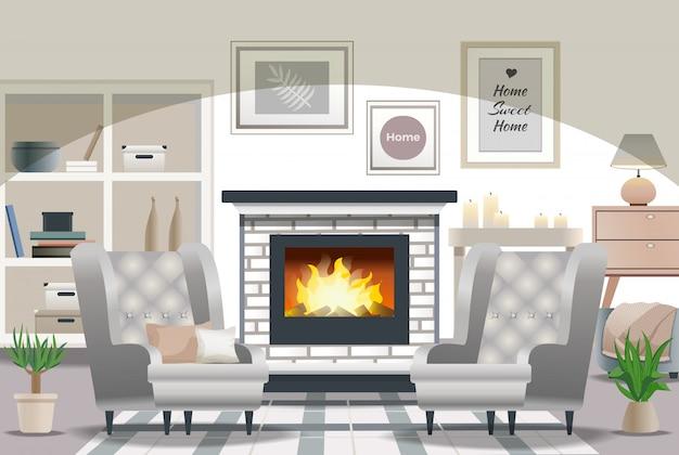 Hygge style interior design Free Vector