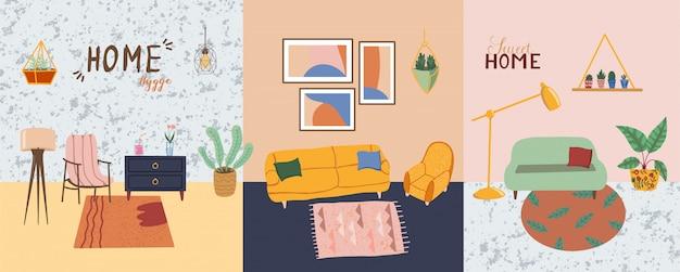 Установить элементы дизайна интерьера. современная мебель для гостиной. диван, цветочный горшок, кактус, напольная и настольная лампа, картина на стене и другие. скандинавский уютный домашний стиль hygge Premium векторы