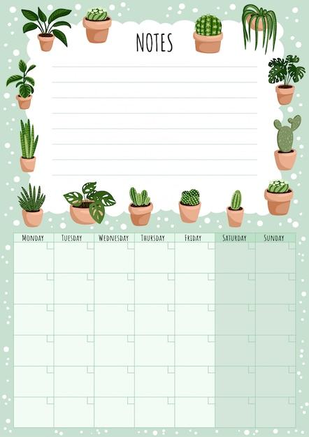 多肉植物植物要素とやることリストとhygge月間カレンダー。 Premiumベクター
