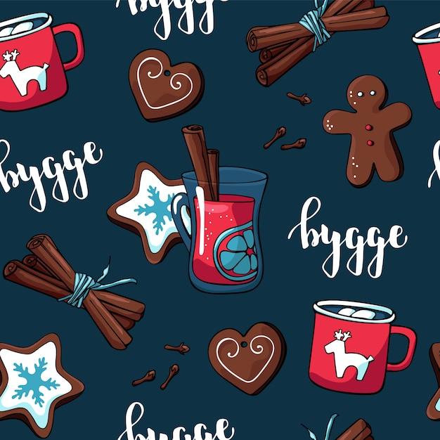 クリスマスの要素と居心地の良いものと布と紙のかわいいhyggeパターン Premiumベクター