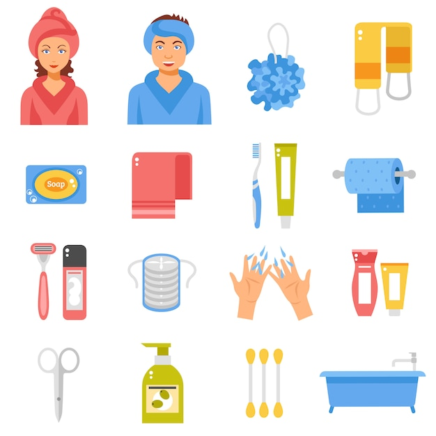 Hygiene accessories flat icons set Free Vector