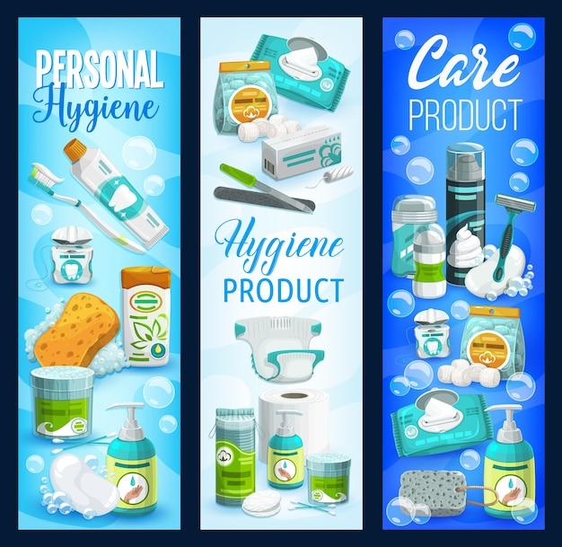 Баннеры средств гигиены и ухода. мыло, туалетная бумага и шампунь, щетка, зубная паста и очищающие салфетки, флакон с гелем для душа и пена для бритья. косметика для тела, личная гигиена, ежедневный уход за здоровьем Premium векторы