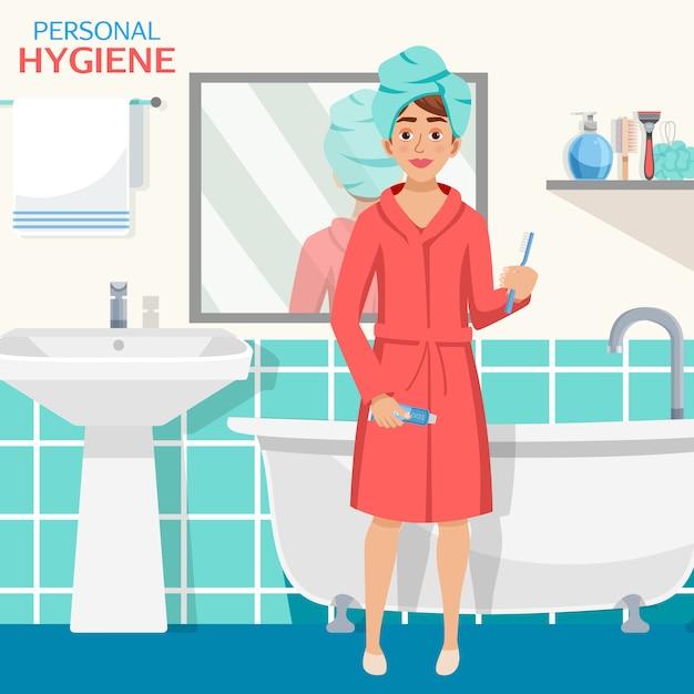 Hygiene bathroom interior composition Free Vector