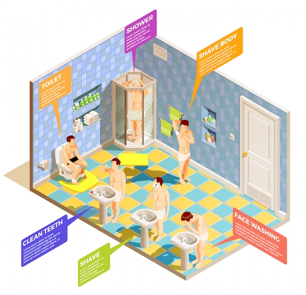 Hygiene bathroom isometric infographics Free Vector