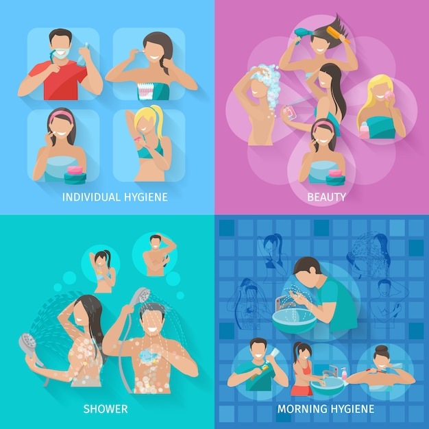 Hygiene design concept set with beauty and shower flat icons Free Vector