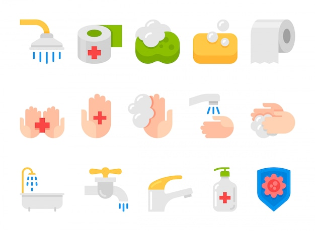 Hygiene flat icons set Premium Vector