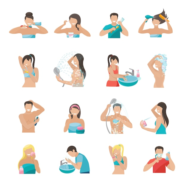 Hygiene icons flat set with people brushing teeth washing face and taking shower Free Vector
