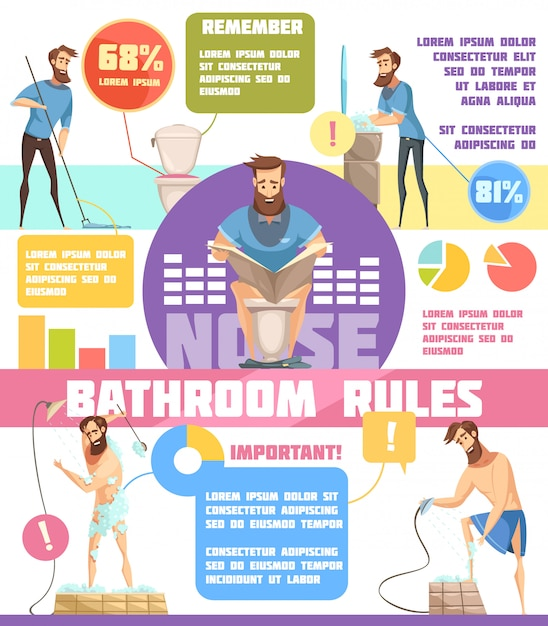 Hygiene infographics flat layout with bathroom rules and important information to remember in cartoon style Free Vector