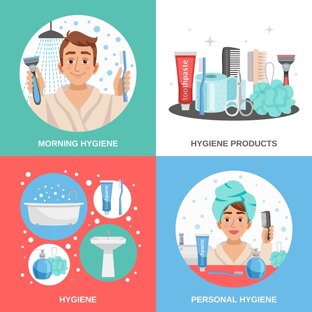 Hygiene square compositions set Free Vector