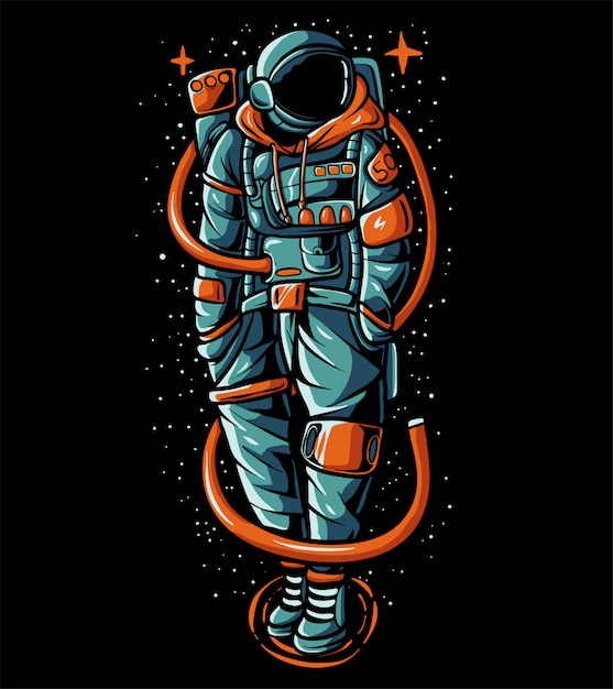 Hype astronaut wearing sweater  illustration Premium Vector