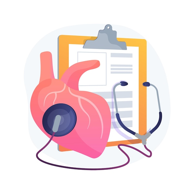 Hypertension abstract concept   illustration. cardiological problem, high blood pressure, measuring device, cholesterol level diagnostic, hypertension cause, ambulance Free Vector