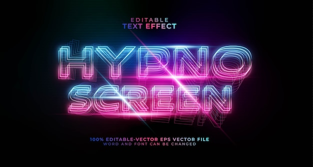 Редактируемый текстовый эффект hypno screen gradient Бесплатные векторы
