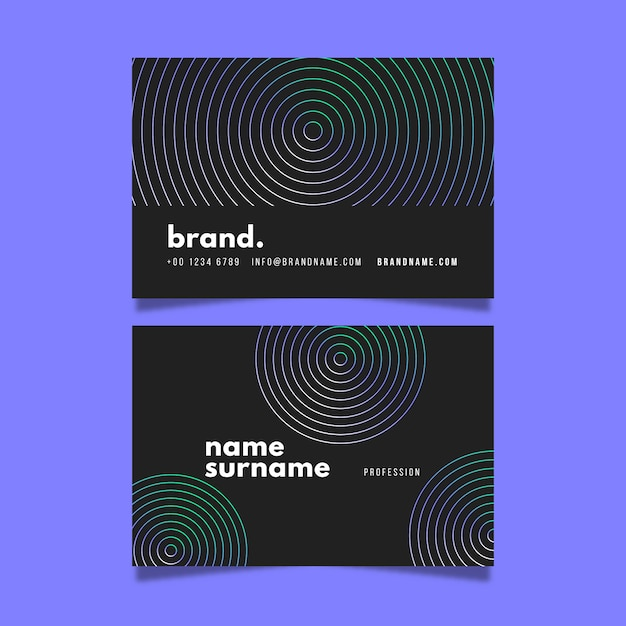 Hypnotic circles visit business card Free Vector
