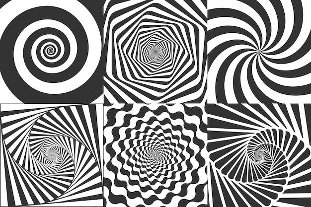 催眠スパイラル。渦巻くスパイラル、めまいの幾何学的錯覚、回転ストライプラウンドパターンベクトルイラストセット Premiumベクター