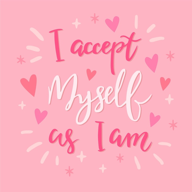 I accept myself as i am lettering Free Vector