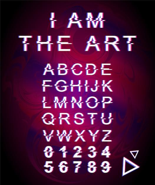 私はアートグリッチフォントテンプレートです。紫のホログラフィック背景に設定されたレトロな未来的なスタイルのアルファベット。大文字、数字、記号。ディストーション効果のあるクリエイティビティ書体デザイン Premiumベクター