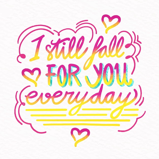 Я влюбляюсь в тебя каждый день свадебные надписи Бесплатные векторы