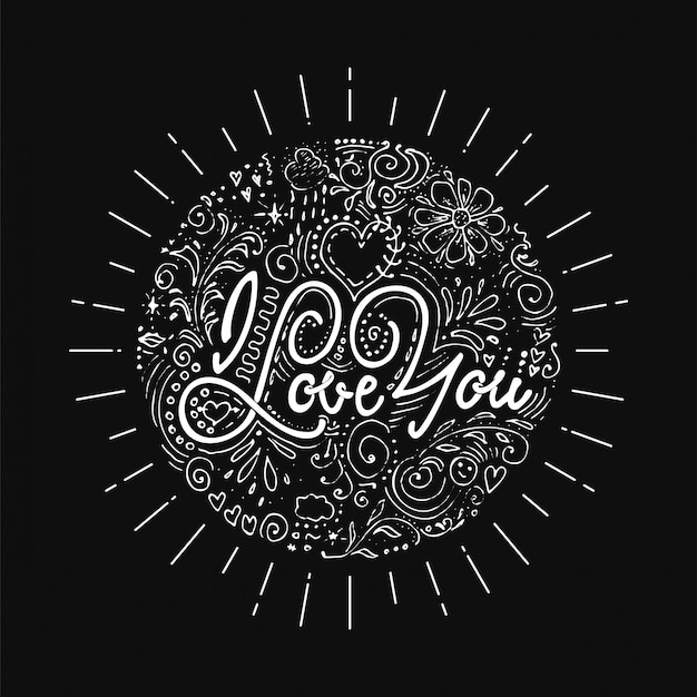 I give you all my love. hand-lettering text . handmade vector calligraphy for your design dotwork Premium Vector