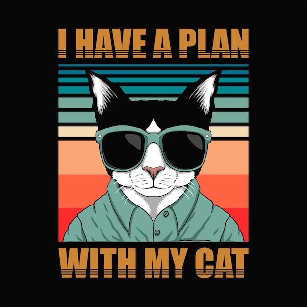 私は猫をレトロにする計画を持っています。 Premiumベクター