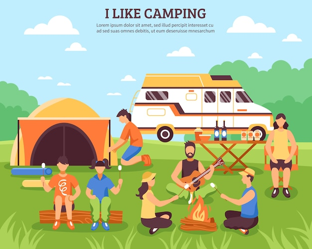 I like camping composition Free Vector
