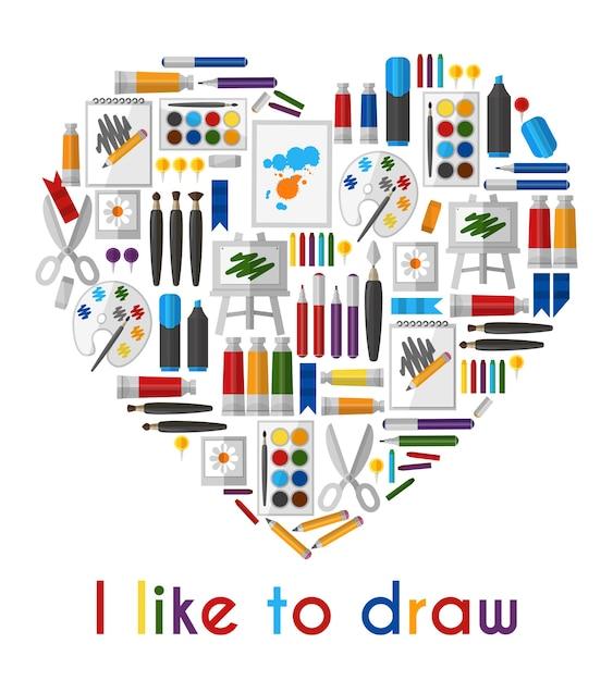 Mi piace disegnare. cuore di matite e pennelli. matita e strumento, disegno d'amore, pennello e tavolozza Vettore gratuito