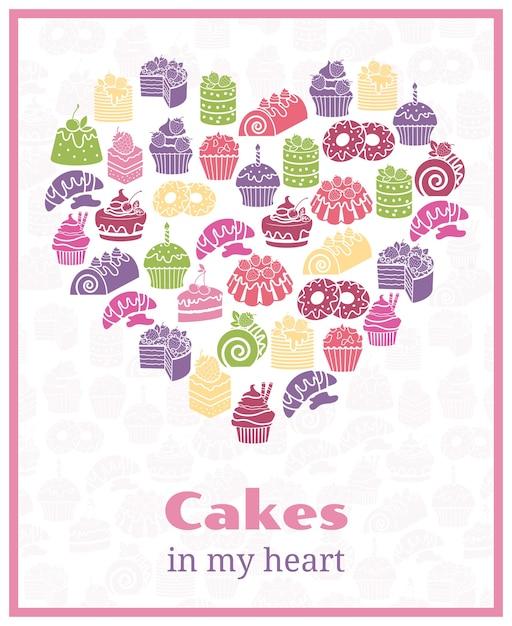 私はケーキが大好きです。ハート型の看板を焼く。フードケーキ、甘いポスター。ベクトルイラスト 無料ベクター