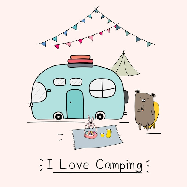 I love camping concept with cute bear and camping car Premium Vector