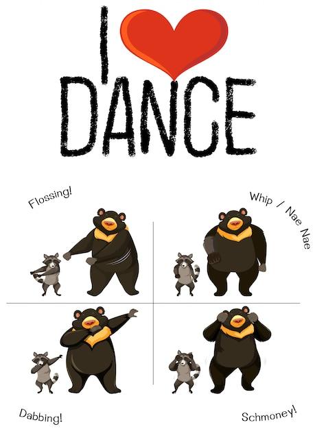 Я люблю танцевать медведя и енота Бесплатные векторы