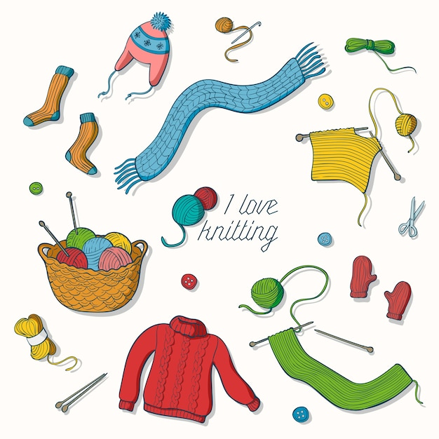 I love knitting collection of hand drawn illustrations Premium Vector